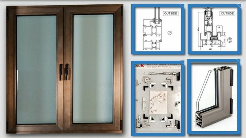 Custom made anodized aluminum french casement window